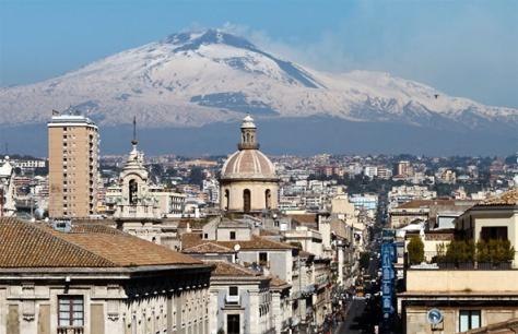 Catania city and Etna