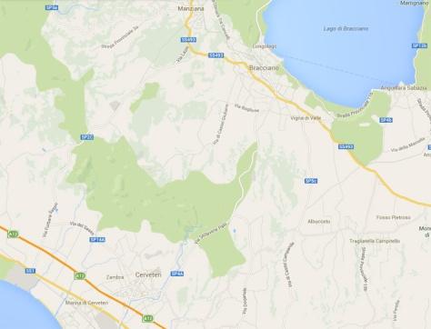 Cerveteri Bracciano map