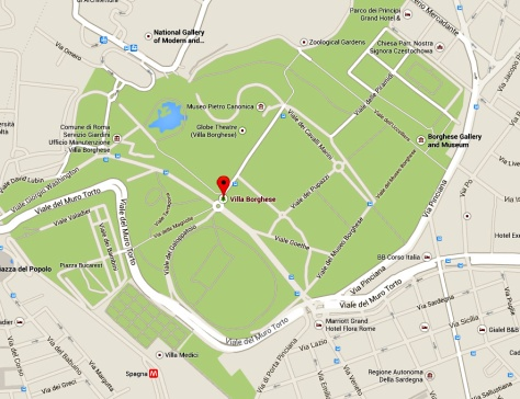 map of villa borghese