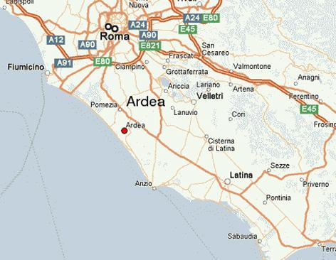 Kartta Rooma_Ardea_Sabaudia