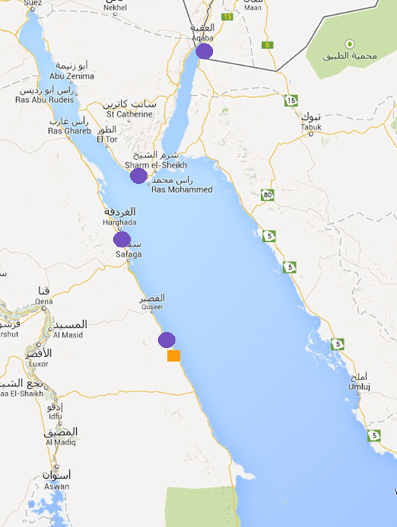 Map of the Red Sea With Places I have Visited